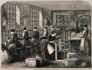 view Crimean War, England: women manufacturing lint for the army. Wood engraving by W. Sheeres, 1855.