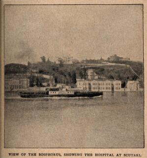 view Crimean War: showing the strait Bosphorus and the hospital at Scutari, Turkey. Process print.