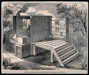 view Crimean War: drying closet as used by Scutari Hospital. Wood engraving.