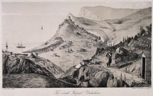 view Crimean War: aerial view of the Castle Hospital, Balaclava. Lithograph after Lady Alicia Blackwood.