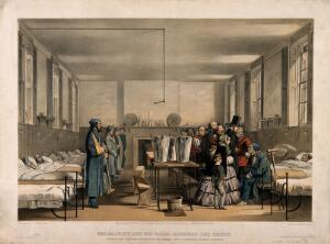 view Queen Victoria and Prince Albert visiting soldiers wounded in the Crimean War, at Brompton Hospital, Chatham. Coloured lithograph by J.A. Verner, 1855, after J. Tenniel.