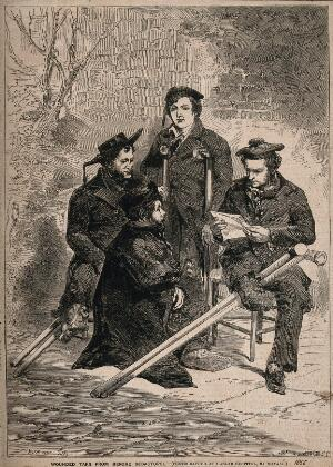 view Crimean War: wounded sailors convalescing at Haslar Hospital. Wood engraving by H. Linton after E. Morin after J. Mayall.