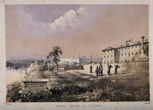 view Crimean War, Scutari: burial ground. Coloured lithograph by Dickinson after Precivsi.