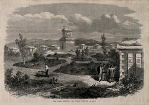 view Crimean War: the French cemetery. Wood engraving.