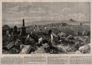 view Crimean War: ruins of the British soldier's graveyard. Wood engraving by R.C.H?