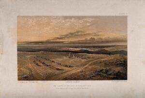 view Crimean War, Cathcart Hill: graves in the fort. Coloured lithograph by E. Walker after W. Simpson.