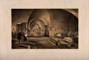 view Crimean War: panoramic view of the interior of Fort Nicholas. Tinted lithograph after W. Simpson.