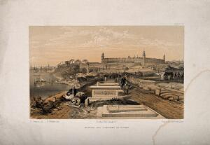 view Crimean War: cityscape view of hospital and cemetary at Scutari. Coloured lithograph by E. Walker after W. Simpson.