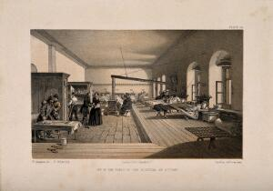 view Crimean War: Florence Nightingale at Scutari Hospital. Tinted lithograph by E. Walker after W. Simpson.