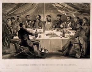 view Crimean War, Sebastopol: Christmas Dinner before the Battle of Sebastopol. Tinted lithograph by J.A. Vinter, 1855, after W. Simpson.