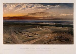 view Crimean War: cemetry on the fort at Cathcart's Hill. Coloured lithograph by C. Haghe, 1855, after W. Simpson.