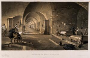 view Crimean War: panoramic view of the interior of Fort Nicholas. Tinted lithograph by E. Walker, 1856, after W. Simpson.