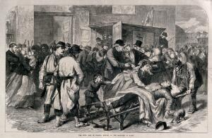 view Franco-Prussian War: Civil unrest in Paris. Wood engraving after W. Simpson.