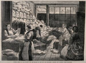 view Franco-Prussian War: Society for the Relief of the Sick and Wounded, London office Wood engraving.