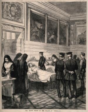 view Franco-Prussian War: Crown Prince Frederick touring wounded soldiers at Versailles. Wood engraving.