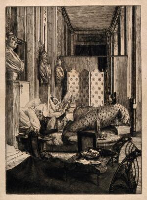 view Franco-Prussian War: soldiers convalescing in the Palais Royale Military hospital. Etching by H. Tissot, 1870.