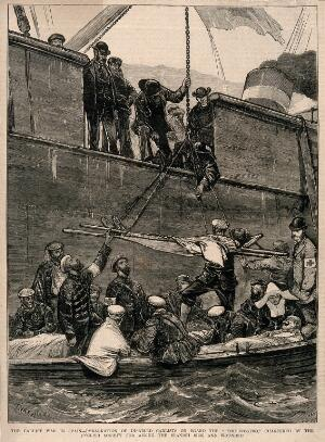 """view Carlist War, Spain: Spanish sick and wounded being carried on board the """"Somorrostro"""". Wood engraving by I. Nash."""