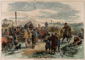 view Serbo-Turkish War: wounded servians leaving Alexinatz. Coloured wood engraving.