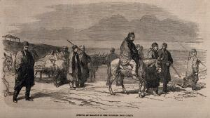 view Crimean War: arrival of wounded at Kalafat from Citate. Wood engraving.