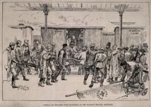 view Serbo-Bulgarian War: arrival of wounded to Belgrade from Slivnitza. Wood engraving by J.N. Schönberg, 1885.