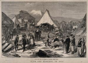 view Serbo-Turkish War, Turkey: hospital camp at Magra near Kars. Wood engraving by H. Harral after G. Broling, 1877.