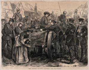 view Franco-Prussian War: the Crown Prince visiting the wounded. Wood engraving by H. Woods.