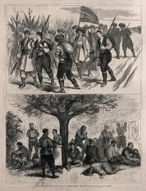 view Serbo-Bulgarian War: two sketches showing volunteers on their way to the front and hospital camp. Wood engraving by J. Nash.