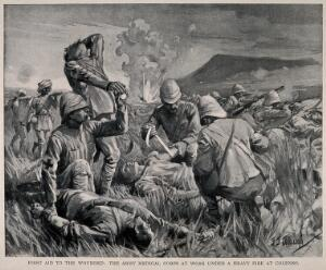 view Boer War: first aid to the wounded on the battlefield at Colenso. Process print after J.J. Waugh.