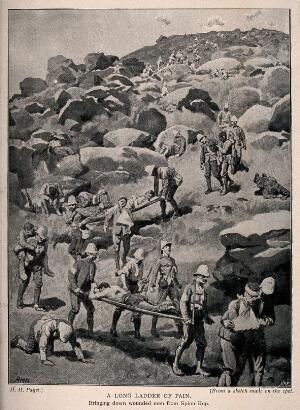 view Boer War: bringing the wounded dwom from Spion Kop. Process print after H.M. Paget.