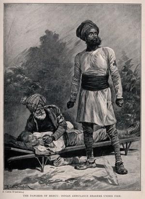 view Boer War: Indian ambulance bearers under fire. Process print after R. Caton Woodville.