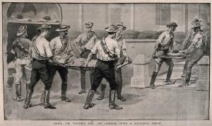 view Boer War: ambulance men taking the wounded into hospital at the entrance. Reproduction after a watercolour.