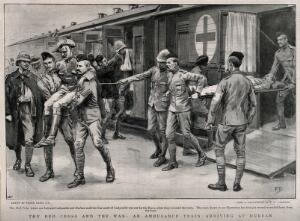 view Boer War: Red Cross hospital train arriving at Durban. Process print after F.C. Harrison after F. Dadd, 1899.