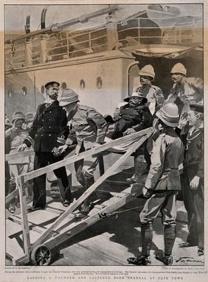 view Boer War: a wounded Boer General prisoner being taken off the ship at Cape Town. Process print after F. de Haenen after Fyne.