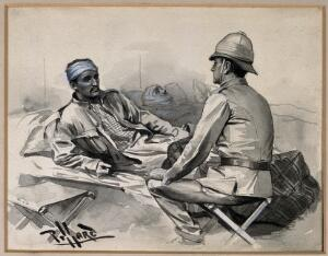 view Boer War: a wounded man addresses a superior officer seated at his bedside. Wash drawing by Pillard.