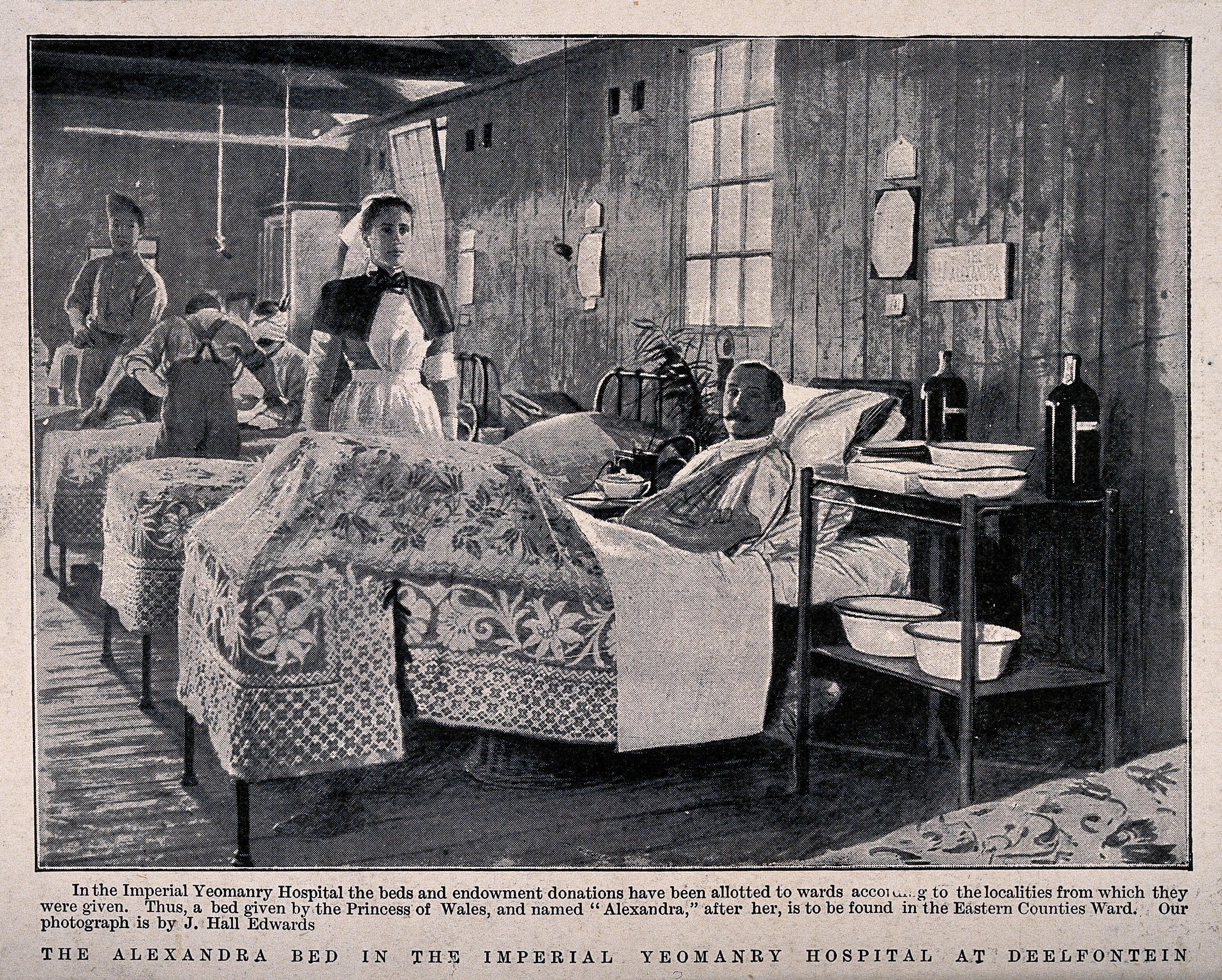 Boer War: a military hospital ward with patient in the ...