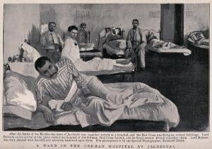 view Boer War: wounded soldiers in a ward at the German hospital at Jacobsdal, South Africa. Process print after R. Thiele, 1900.