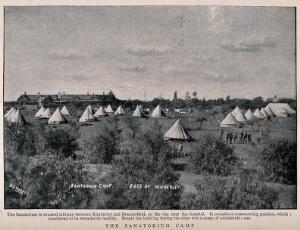 view Boer War: the sanatorium camp used during the siege of Kimberley. Process print after Bennett, 1899.
