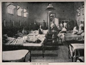 view Boer War: a hospital ward with soldiers wounded during the siege of Kimberley, South Africa. Process print after Bennett, 1899.
