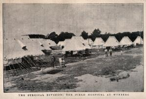 view Boer War: marquees and patients of the field hospital at Wynberg, South Africa. Halftone, 1900, after J. Bruton.