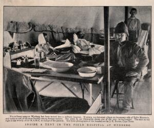 view Boer War: military staff and patients inside a tent in the Wynberg field hospital, South Africa. Halftone, 1900, after J. Bruton.