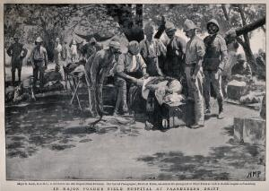view Boer War: a military physician bandages a wounded man in the open air, others watch. Halftone after H. M. Paget, c.1900.