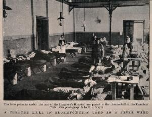 view Boer War: fever patients in a ward at the military hospital at Bloemfontein, South Africa. Halftone, c. 1900, after F. Mayer.