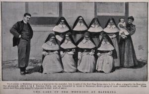view Boer War: a group of nuns outside the military hospital at Mafeking, South Africa. Halftone, c.1900, after J. Emerson Neilly.