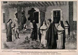 view Boer War: nuns and a policeman taking down the Red Cross flag from the bomb damaged convent at Mafeking, South Africa. Halftone, c.1900, after S. Robinson.