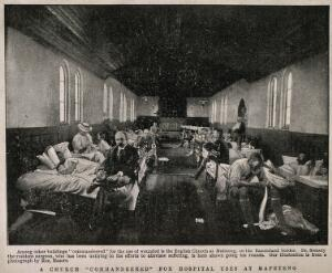 view Boer War: a full military hospital ward in a church at Mafeteng, South Africa. Halftone, c. 1900, after M. Maseru.