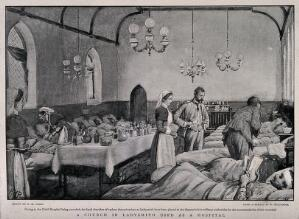 view Boer War: a full military hospital ward housed in a church in Ladysmith, South Africa. Halftone, c.1900, after H. Paget after H. McCormick.