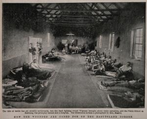 view Boer War: men lying in a military hospital housed in a public school at Mafeteng, South Africa. Halftone, c.1900, after M. Maseru.