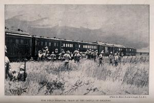 view Boer War: a hospital train at the Battle of Colenso with soldiers milling around. Halftone, c. 1900, after H. Brazier-Creagh.