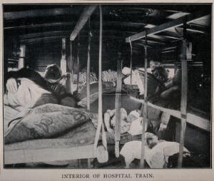 view Boer War: wounded soldiers lying inside a hospital train. Halftone, c.1900.