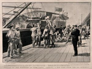 view Boer War: wounded soldiers being lifted off a hospital ship and carried away on stretchers. Halftone, c. 1900, after F. de Haenen after J. Bruton.